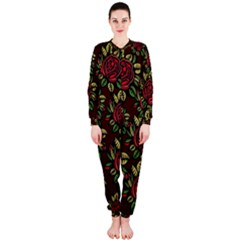 A Red Rose Tiling Pattern OnePiece Jumpsuit (Ladies)