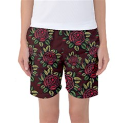 A Red Rose Tiling Pattern Women s Basketball Shorts