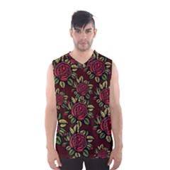 A Red Rose Tiling Pattern Men s Basketball Tank Top