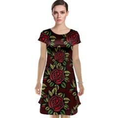 A Red Rose Tiling Pattern Cap Sleeve Nightdress