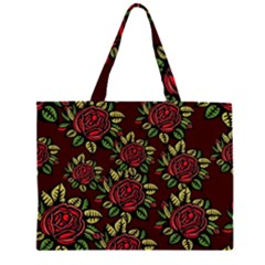 A Red Rose Tiling Pattern Large Tote Bag