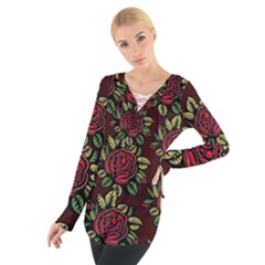 A Red Rose Tiling Pattern Women s Tie Up Tee