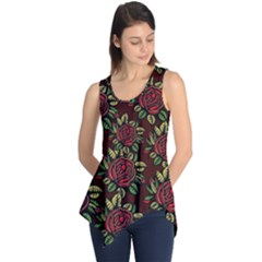 A Red Rose Tiling Pattern Sleeveless Tunic