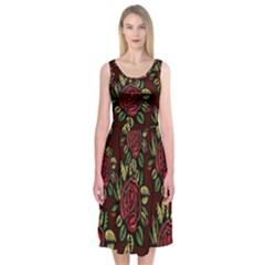A Red Rose Tiling Pattern Midi Sleeveless Dress