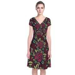 A Red Rose Tiling Pattern Short Sleeve Front Wrap Dress