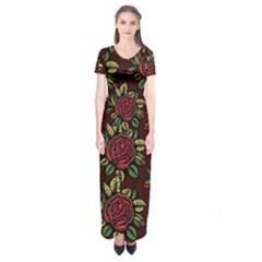 A Red Rose Tiling Pattern Short Sleeve Maxi Dress
