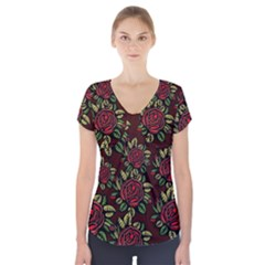 A Red Rose Tiling Pattern Short Sleeve Front Detail Top