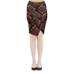 A Red Rose Tiling Pattern Midi Wrap Pencil Skirt