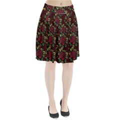 A Red Rose Tiling Pattern Pleated Skirt