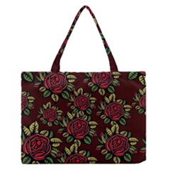A Red Rose Tiling Pattern Medium Zipper Tote Bag