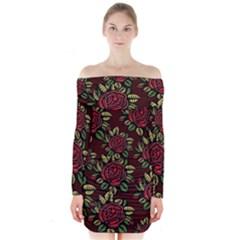 A Red Rose Tiling Pattern Long Sleeve Off Shoulder Dress