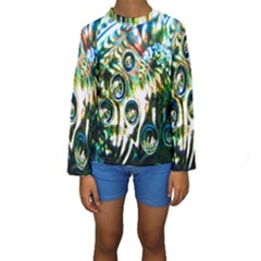 Dark Abstract Bubbles Kids  Long Sleeve Swimwear