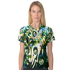 Dark Abstract Bubbles Women s V Neck Sport Mesh Tee