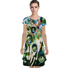 Dark Abstract Bubbles Cap Sleeve Nightdress