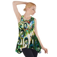 Dark Abstract Bubbles Side Drop Tank Tunic
