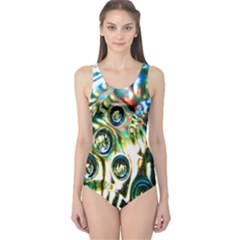 Dark Abstract Bubbles One Piece Swimsuit