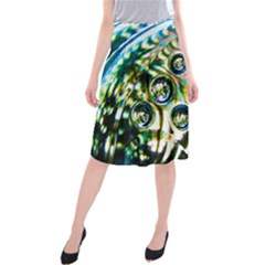 Dark Abstract Bubbles Midi Beach Skirt
