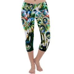 Dark Abstract Bubbles Capri Yoga Leggings