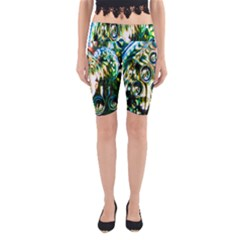 Dark Abstract Bubbles Yoga Cropped Leggings