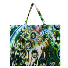 Dark Abstract Bubbles Zipper Large Tote Bag