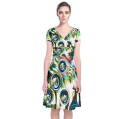 Dark Abstract Bubbles Short Sleeve Front Wrap Dress