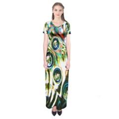 Dark Abstract Bubbles Short Sleeve Maxi Dress