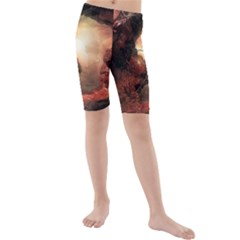 3d Illustration Of A Mysterious Place Kids  Mid Length Swim Shorts