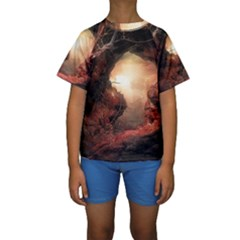 3d Illustration Of A Mysterious Place Kids  Short Sleeve Swimwear