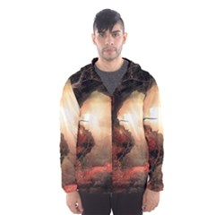 3d Illustration Of A Mysterious Place Hooded Wind Breaker (Men)