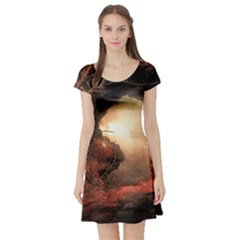 3d Illustration Of A Mysterious Place Short Sleeve Skater Dress