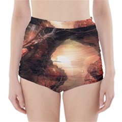 3d Illustration Of A Mysterious Place High-Waisted Bikini Bottoms