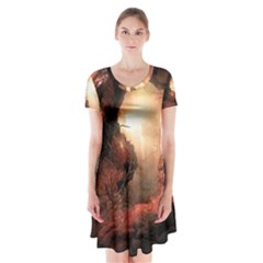 3d Illustration Of A Mysterious Place Short Sleeve V-neck Flare Dress