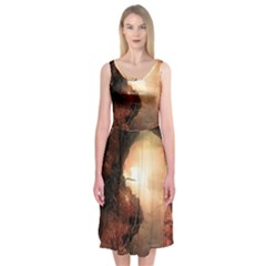 3d Illustration Of A Mysterious Place Midi Sleeveless Dress
