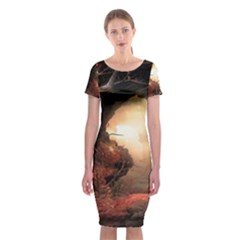 3d Illustration Of A Mysterious Place Classic Short Sleeve Midi Dress