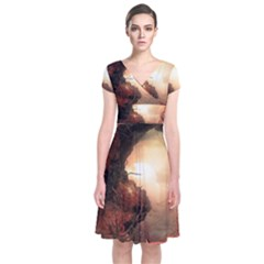 3d Illustration Of A Mysterious Place Short Sleeve Front Wrap Dress