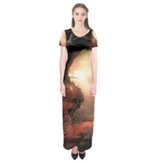 3d Illustration Of A Mysterious Place Short Sleeve Maxi Dress