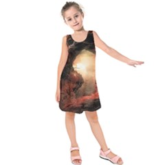 3d Illustration Of A Mysterious Place Kids  Sleeveless Dress