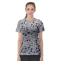 Metal Background With Round Holes Women s Sport Mesh Tee