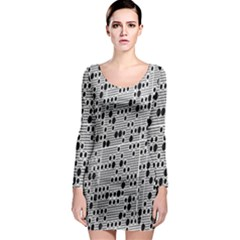 Metal Background With Round Holes Long Sleeve Bodycon Dress