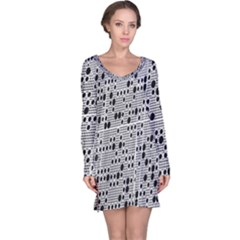 Metal Background With Round Holes Long Sleeve Nightdress