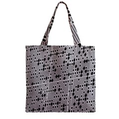 Metal Background With Round Holes Zipper Grocery Tote Bag