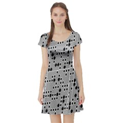 Metal Background With Round Holes Short Sleeve Skater Dress