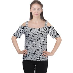 Metal Background With Round Holes Women s Cutout Shoulder Tee