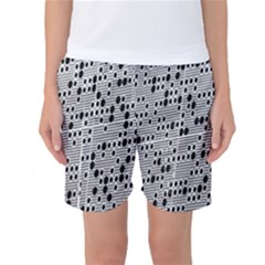 Metal Background With Round Holes Women s Basketball Shorts