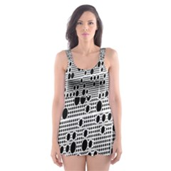 Metal Background With Round Holes Skater Dress Swimsuit