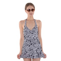 Metal Background With Round Holes Halter Swimsuit Dress