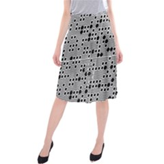 Metal Background With Round Holes Midi Beach Skirt