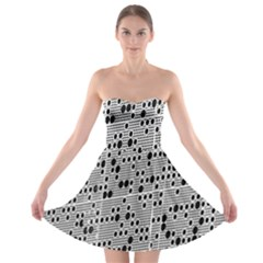 Metal Background With Round Holes Strapless Bra Top Dress