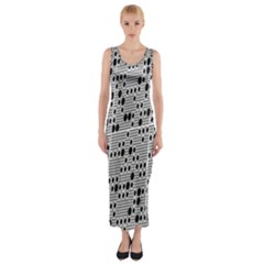 Metal Background With Round Holes Fitted Maxi Dress