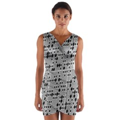 Metal Background With Round Holes Wrap Front Bodycon Dress